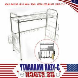 1/2-Tier Stainless Steel Sink Drain Rack Kitchen Shelf Dish