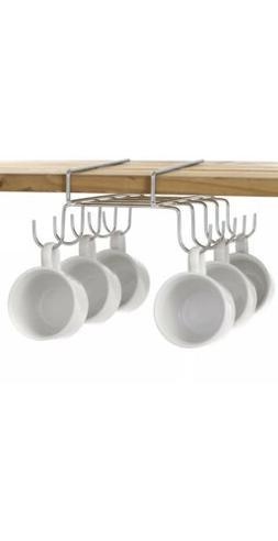10 Hook Under-the-Shelf Mug Rack, Metal Cup Storage Holder &