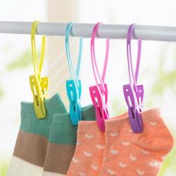 12Pcs Plastic Clothes Socks Drying Rack Towel Hanging Clip L