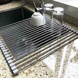 """17.7"""" x 15.5"""" Large Dish Drying Rack, Attom Tech Home Roll U"""