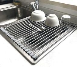 "17.7"" X 15.5"" Large Dish Drying Rack, Home Roll Up Dish Rack"