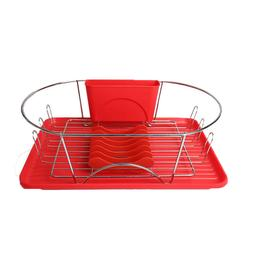 "MegaChef 17"" Red and Silver Dish Drying Rack w Plate Positio"