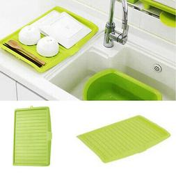 1pc Kitchen Plastic Dish Drainer Tray Large Sink Drying Rack