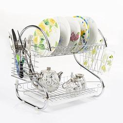 Azadx 2-Tier Chrome Dish Rack Dish Drainer Drying Rack Holde