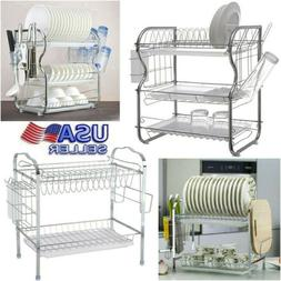 2/3 Tier Dish Drainer Large Capacity Drying Rack Kitchen Sto