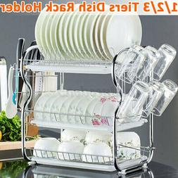 2/3 Tier Dish Drying Rack Large Kitchen Drainer Stainless St