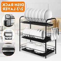2//3-Tier Dish Drying Rack Organizer Home Kitchen Collection Shelf Drainer USA