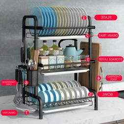 2/3 Tier sus304 Stainless Steel Dish Drain Drying Rack Home