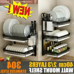 2/3 Tier Wall Dish Drying Rack Organizer Home Kitchen Cutler
