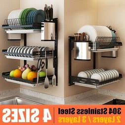 2/3 Tier Wall Dish Drying Rack Organizer Home Kitchen Collec