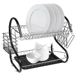 Durable 2-Tier Kitchen Dish Cup Drying Rack Holder Sink Drai