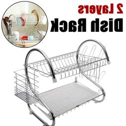 2 Layers Dish Drying Rack Drainer Dryer Tray Kitchen Cup Pla