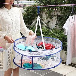 2 Layers Drying Rack Net Folding Hanging Clothes Laundry Swe
