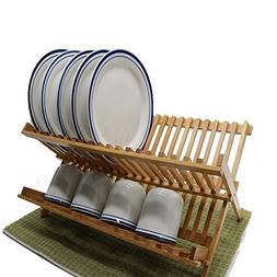 Purzest 2 Levels Bamboo Folding Dish Rack Dish Drying Rack H