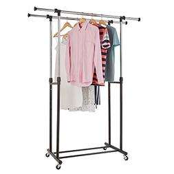 RichStar 2 Rods Adjustable Rolling Clothes Garment Rack-with