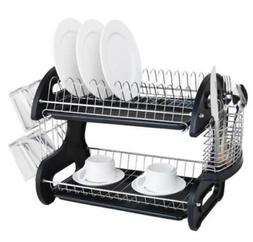 2-teir Dish Drying Rack Plate Cup Stainless Steel Wash Stora