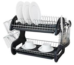 Home Basics NEW 2 Tier Black Dish Drainer Drying Rack Washin