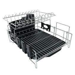 2 Tier Black Soild Plastic Drainers Dish Drying Rack Large C