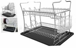 2-Tier Chrome Finish Dish Drying Rack Set and Drainboard wit