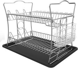 IZLIF 2-Tier Chrome Finish Dish Drying Rack Set and Drainboa