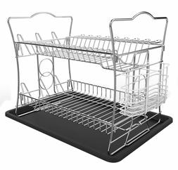 2 tier chrome finish dish drying rack