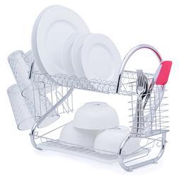 "2-Tier Chrome Plated Dish Drying Rack 20""L x 10.5""W x 15.5""H"
