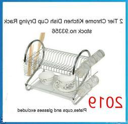 2-Tier Chrome Plating Iron Dish Drying Rack Utensil Holder w