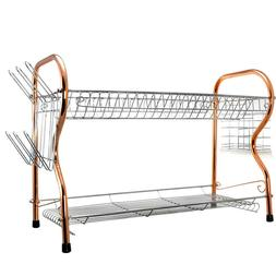 2 Tier Copper Chrome Dish Drying Rack - Compact RV Home Dish