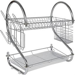 Sweet Home Collection 2 Tier Dish Drainer Drying Rack with U