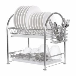 2 Tier Dish Drainer Drying Rack Washing Stainless Steel Kitc
