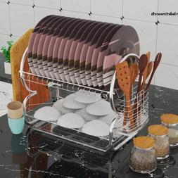 2 Tier Dish Drainer Drying Rack Drain Board Washing Bowl Sto
