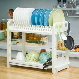 2 Tier Dish Drainer Drying Rack Kitchen Organizer Storage Pl