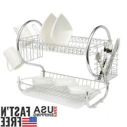 2 Tier Dish Drainer Drying Rack Kitchen Storage Stainless St