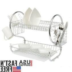 Large Capacity 2Tier Dish Drainer Drying Rack Kitchen Storag