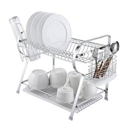 2 Tier Dish Drying Rack Kitchen Organizer with Drain Board,