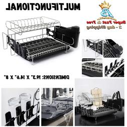 2 Tier Dish Drying Rack Antimicrobial Draining Board Above C