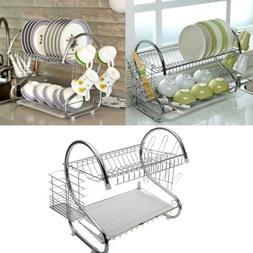 2 Tier Dish Drying Rack Drainer Stainless Steel Kitchen Cutl