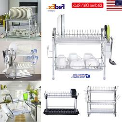 2 Tier Dish Drying Rack Kitchen Collection Shelf Drainer Org