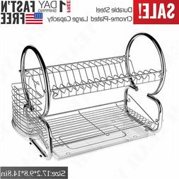 2-Tray Dish Drying Rack Organizer Home Kitchen Collection Sh