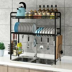 2 tier dish drying rack stainless steel