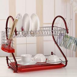 2-Tier Dish Drying Rack Stainless Steel Drainer Home Kitchen