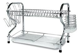2 Tier Dish Rack Basics Drainer Chrome Cup Drying Kitchen St