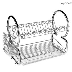 2 Tier Dish Rack Basics Drainer Chrome Stainless Steel Cup D