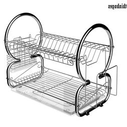 2 Tier Dish Rack Cup Drying Rack Drainer Home Kitchen L44 x