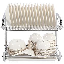 YOMYM 2 Tier Dish Drying Rack and Drainboard Set,Chrome Dish