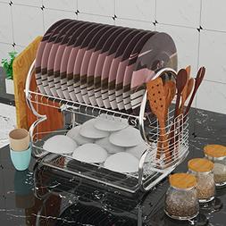 "Etuoji 2 Tier Dish Rack and DrainBoard, "" 38x44x25"" Kitchen"