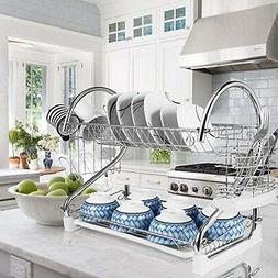 "2-Tier Dish Rack and DrainBoard, 20"" x15""x10"" Kitchen Chrome"