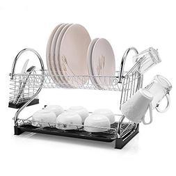 "2-Tier Dish Rack and DrainBoard, 20"" x15""x10"" Kitchen Chrome"