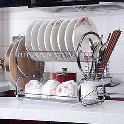 2-Tier Dish Rack Stainless Steel Drying Rack Kitchen Storage