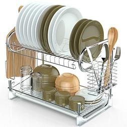 2 Tier Dish Rack, Packism Dish Drying Rack with Drain Board